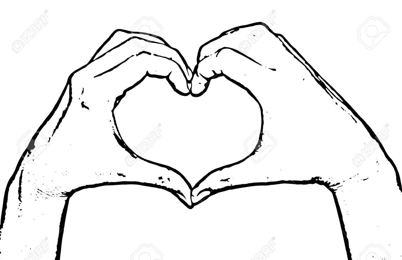 Female Hands Making Shape Heart Symbol Of Lovers Black And
