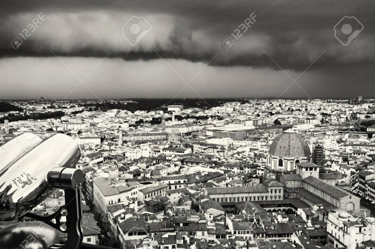 Storm over the florence city tuscany italy black and white
