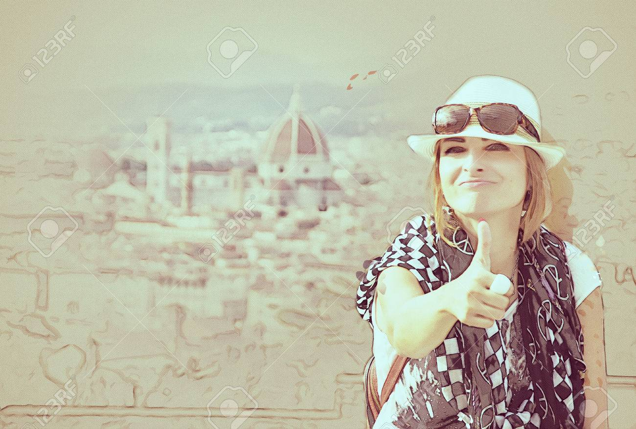 Young caucasian woman with thumb up and the Florence city is