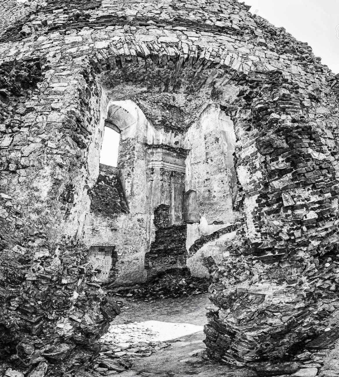 Black and white photo ruins of the castle gymes in slovak republic travel destination detailed scene black