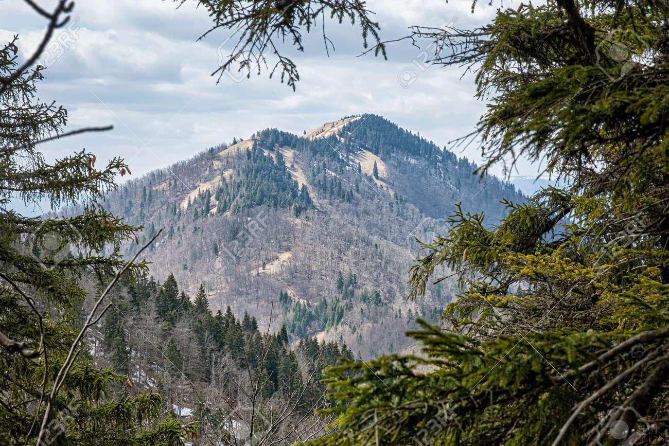 Lysec hill, Big Fatra mountains, Slovak republic. Seasonal natural scene. Hiking theme. - 169797887