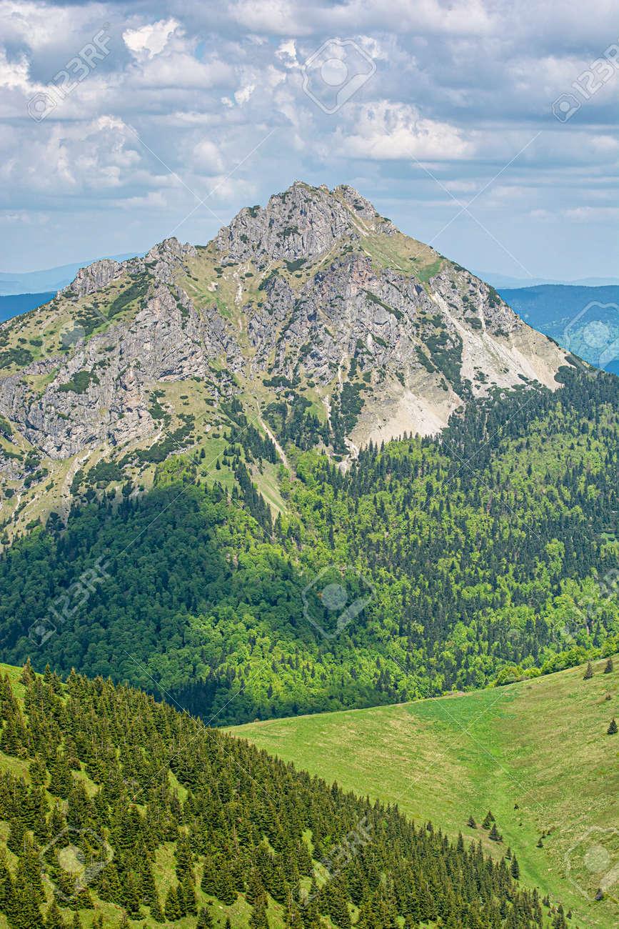 Big Rozsutec peak, Little Fatra, Slovak republic. Hiking theme. Seasonal natural scene. - 169797910