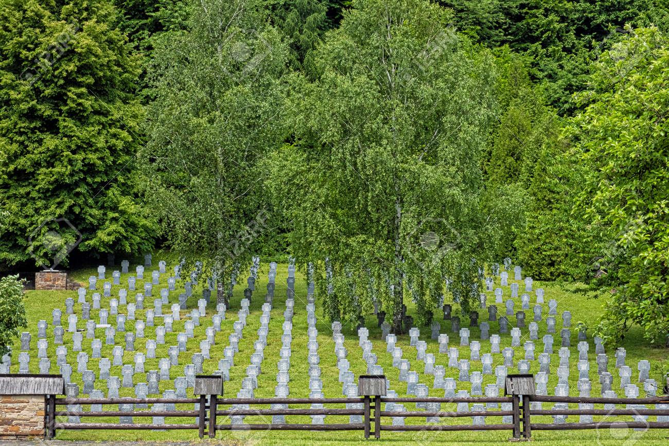 War cemetery, Huncovce village, Slovak republic, Europe. Travel destination. - 171586275