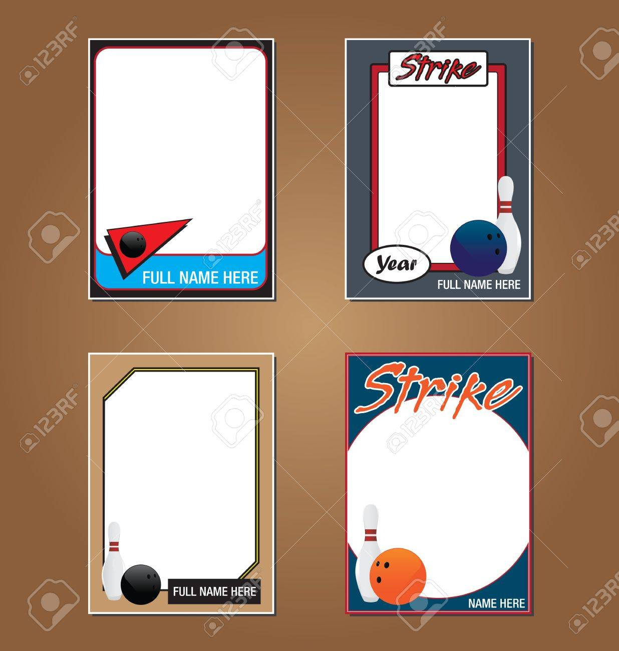 Bowling Trading Card Picture Frames Royalty Free Cliparts, Vectors ...