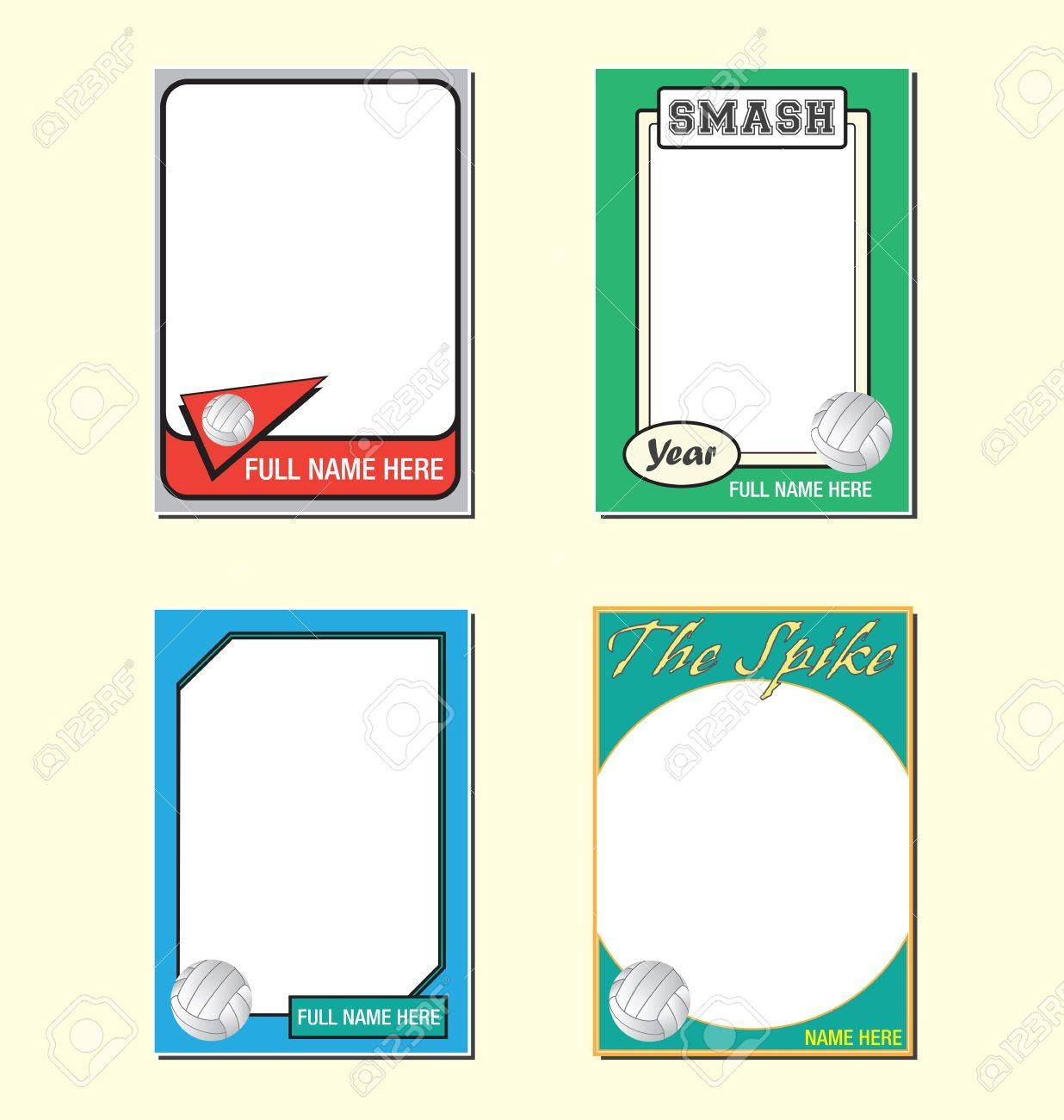 volleyball trading card picture frames royalty free cliparts