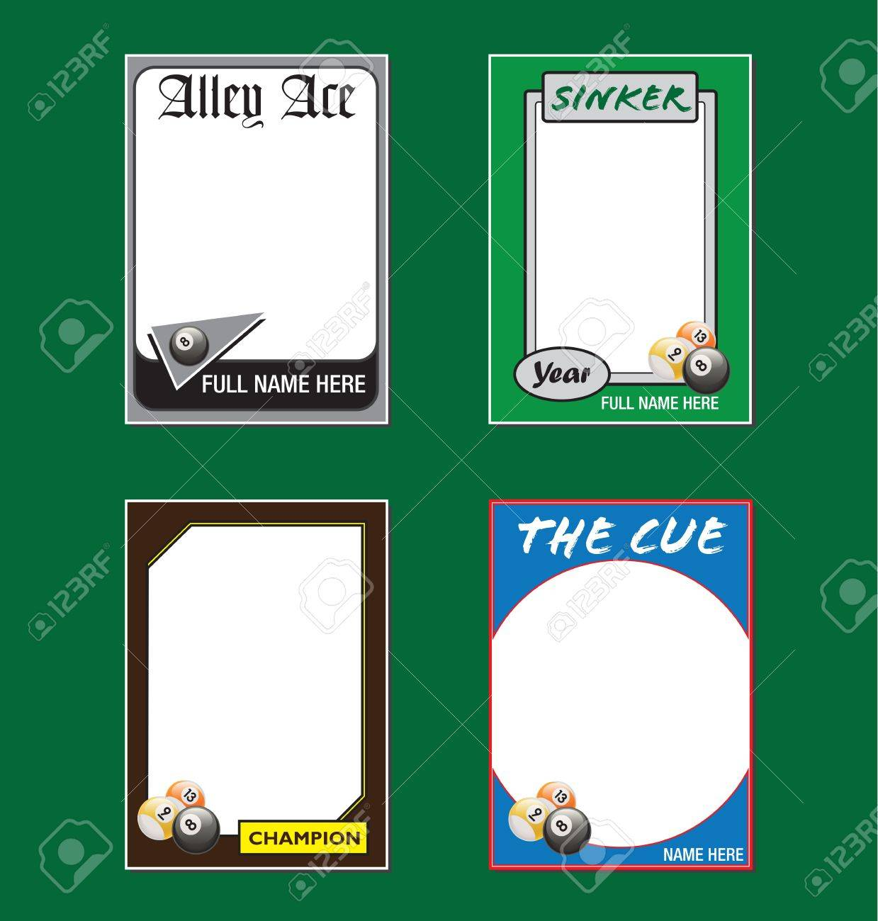Billiards Trading Card Picture Frames Royalty Free Cliparts, Vectors ...