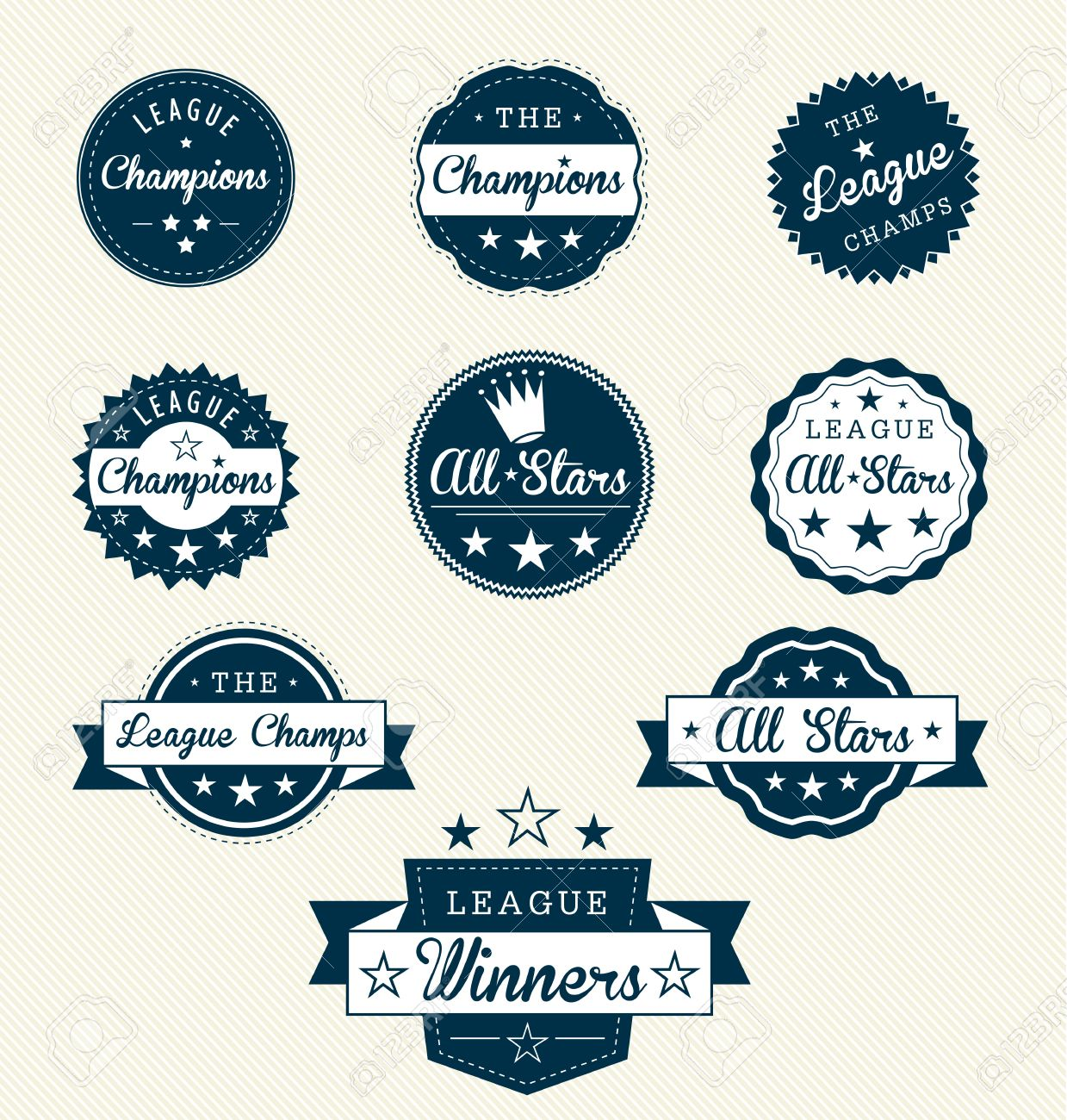 Vintage Sports Labels for Allstars/Champions Stock Vector - 14047616