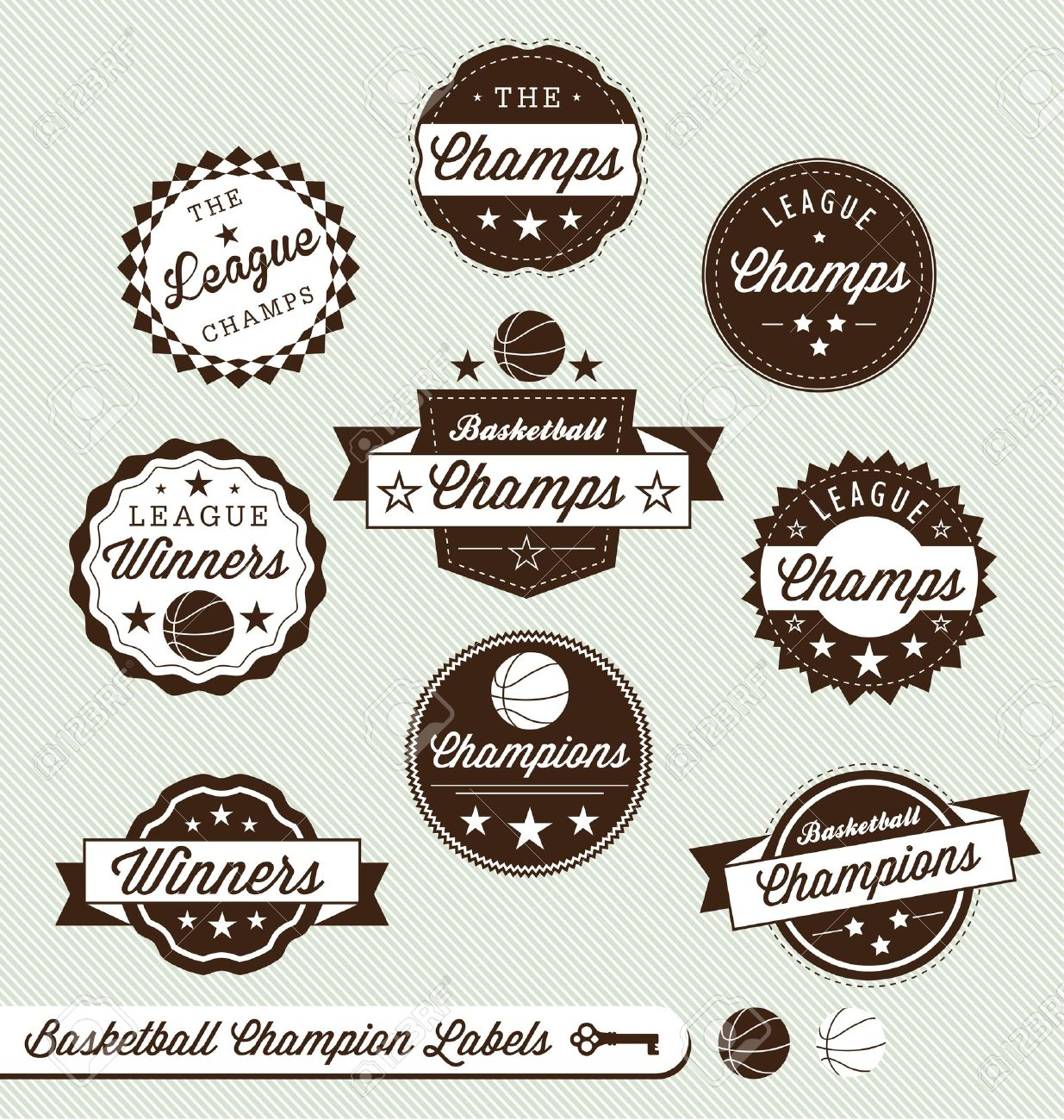 Vector Set  Vintage Style Basketball Labels Stock Vector - 14641294