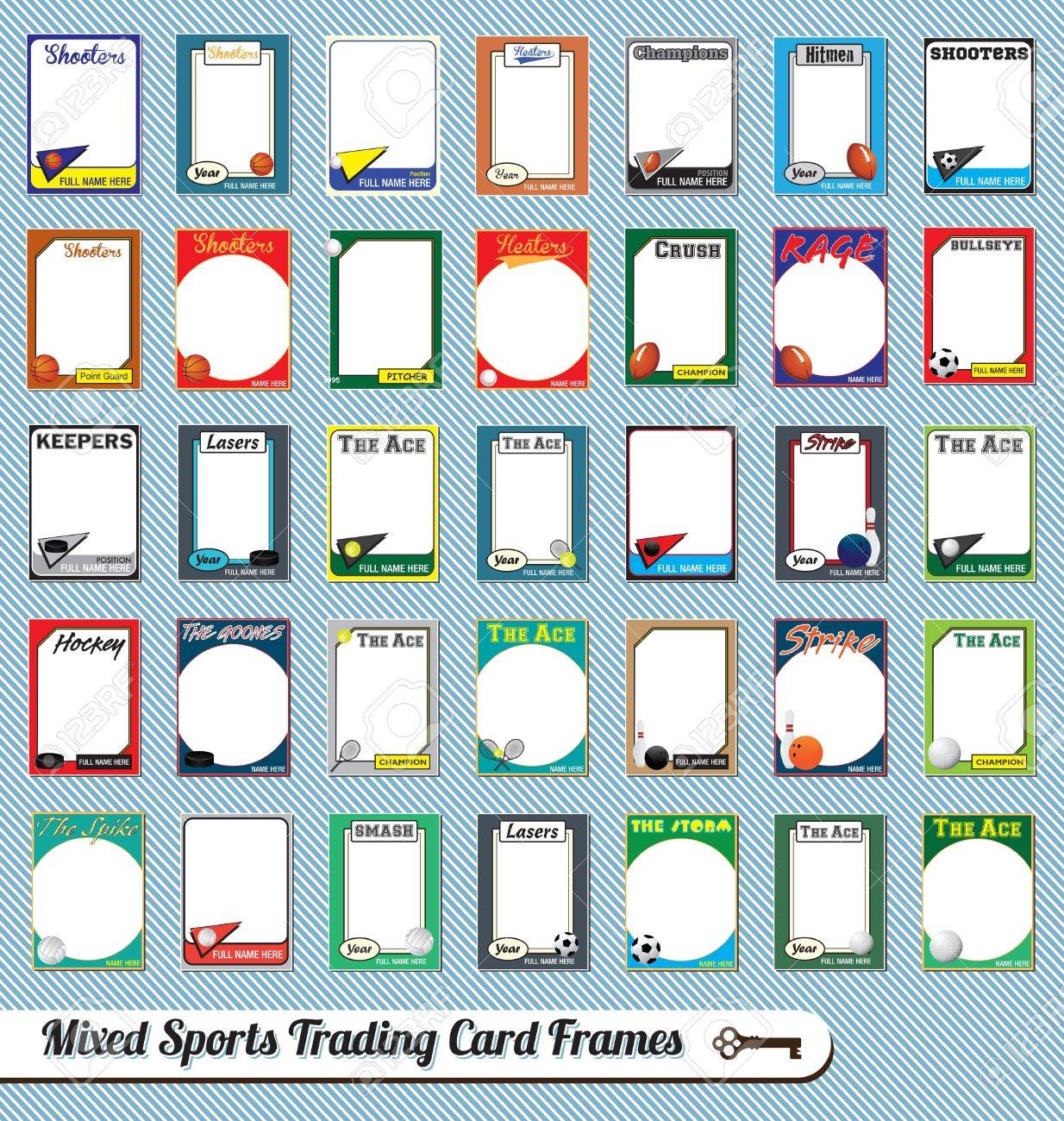 vector vintage mixed sport trading card picture frames