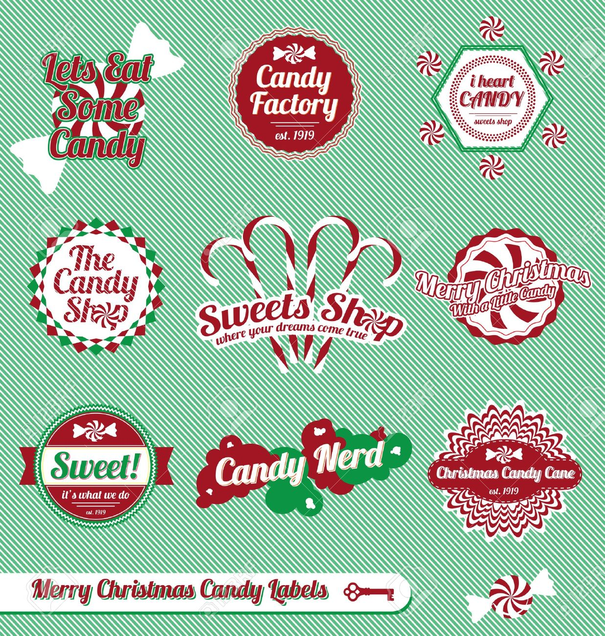 Set: Vintage Christmas Candy Labels and Icons Stock Vector - 15926925