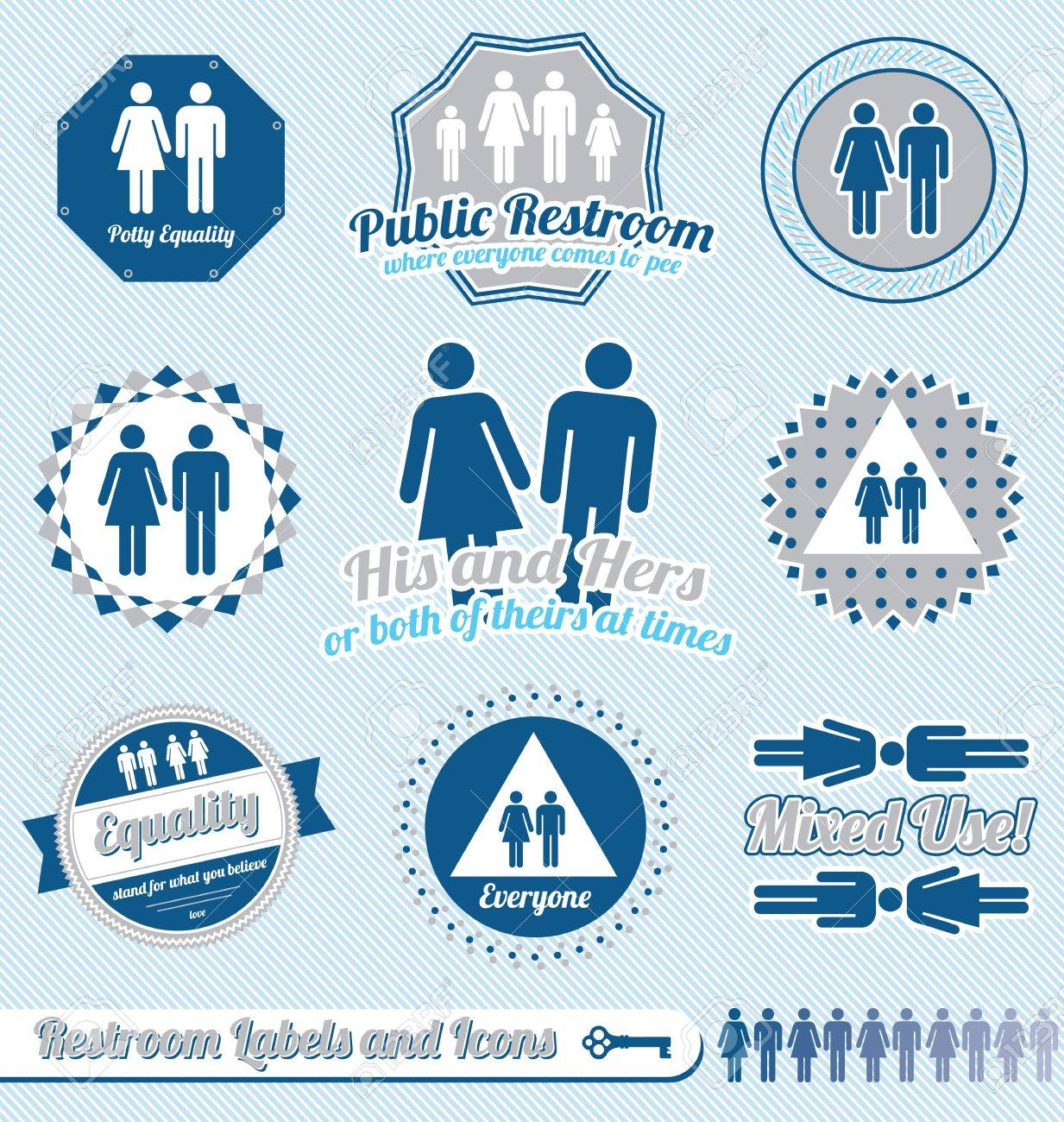 Set: Restroom Bathroom Sign Labels and Icons Stock Vector - 16105770