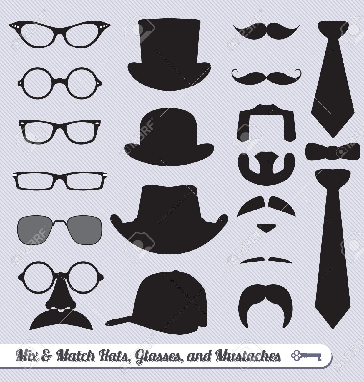 Vector Set: Mustache Glasses Hats and Ties Mix and Match Stock Vector - 16230936