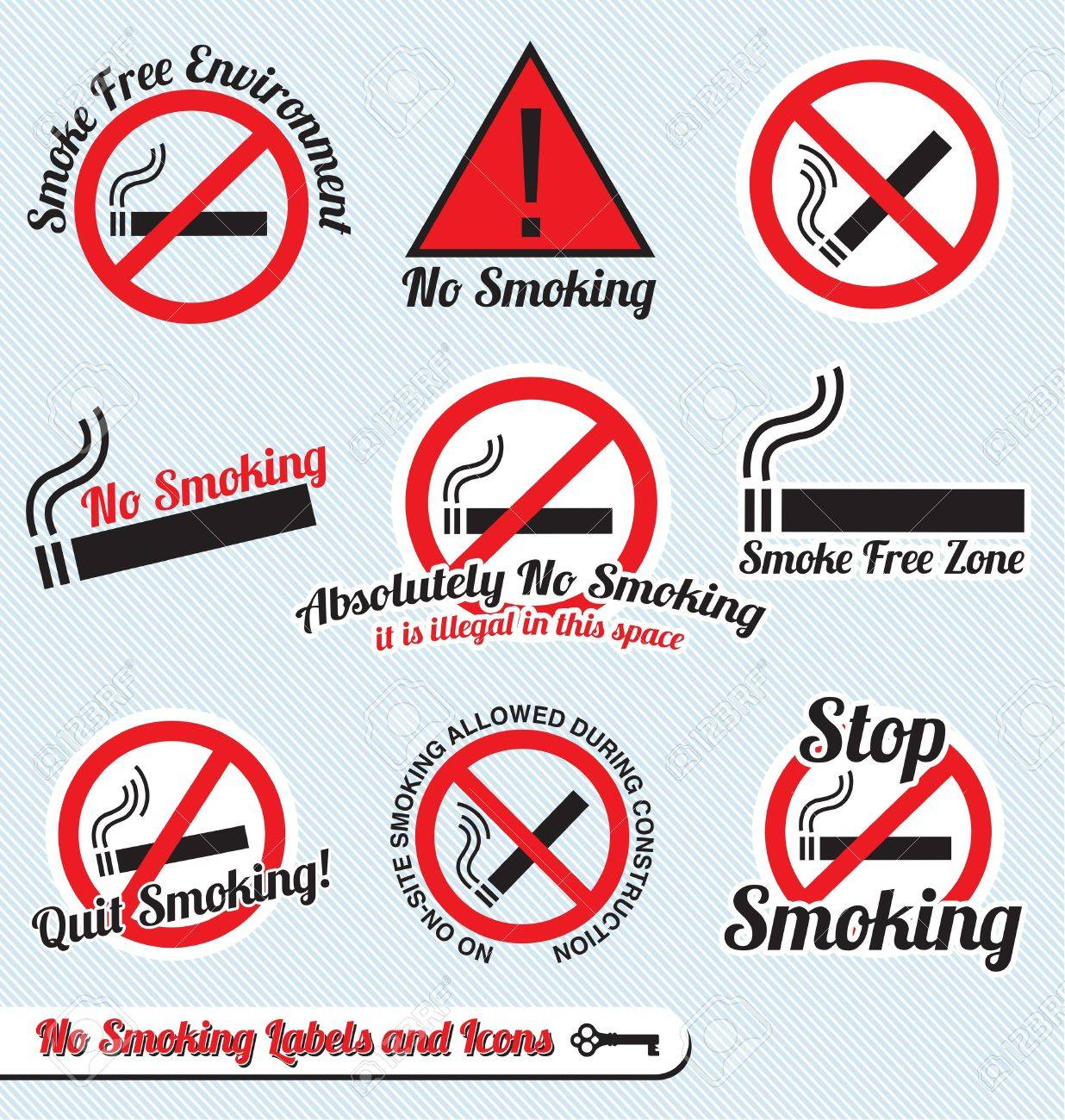 Vector Set: No Smoking Sign Labels and Icons Stock Vector - 16326623