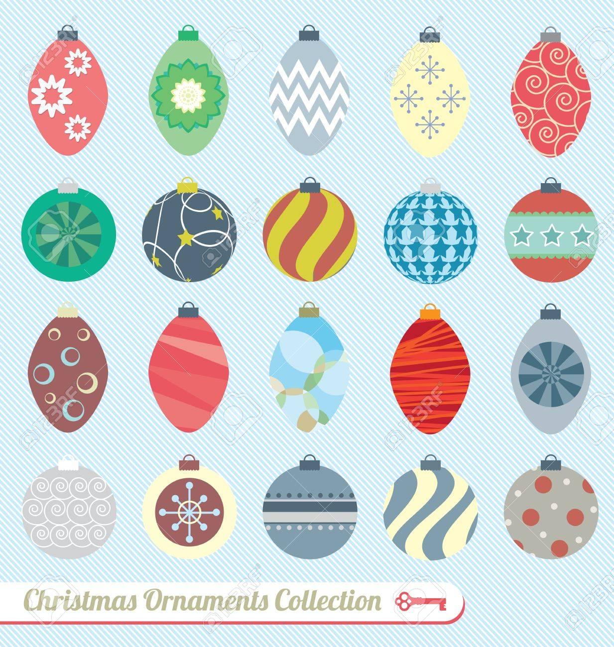 Vector Set Vintage Christmas Ornaments Royalty Free Cliparts