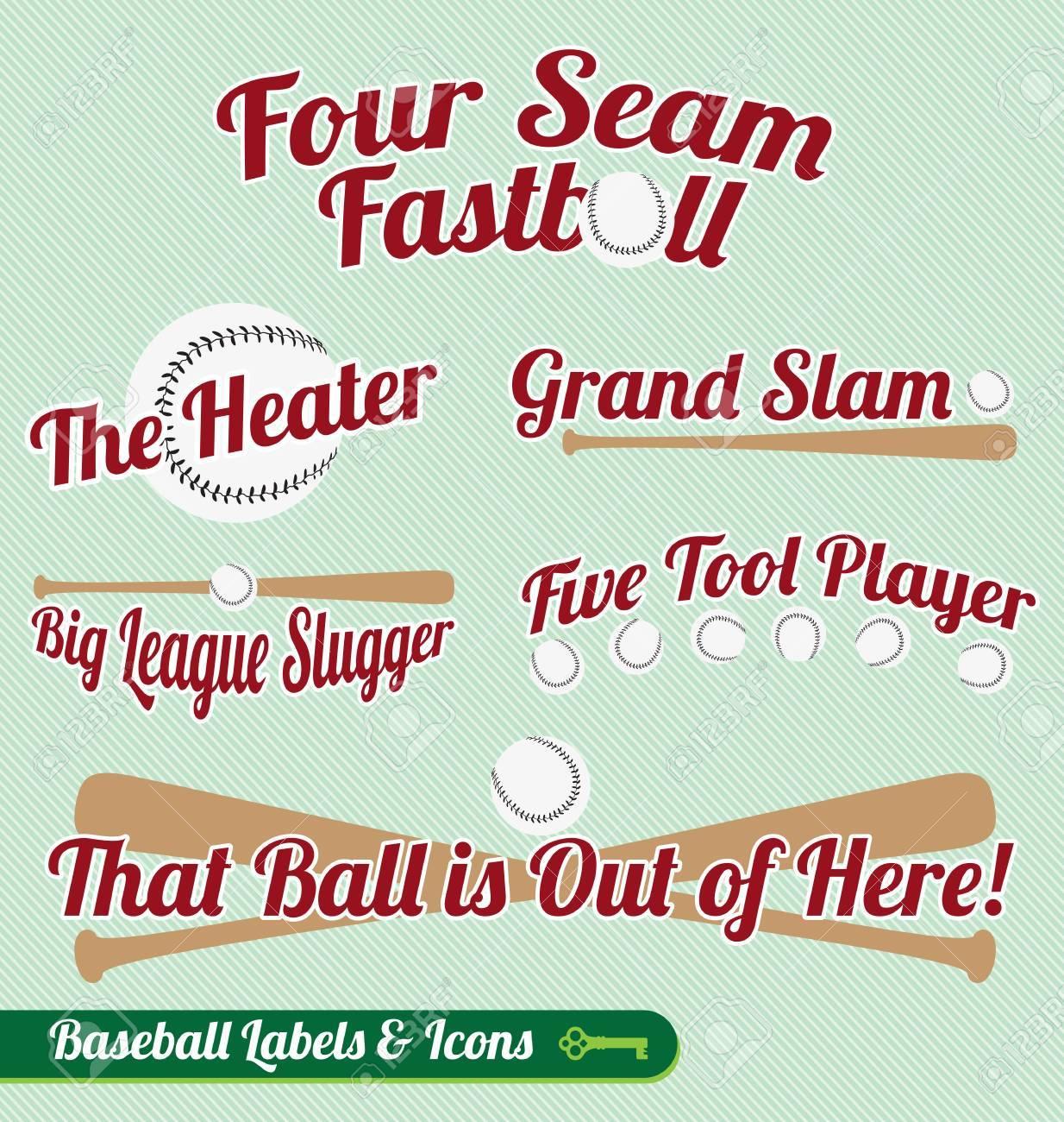 Vector Set: Baseball Bat and Ball Labels and Icons Stock Vector - 16326104