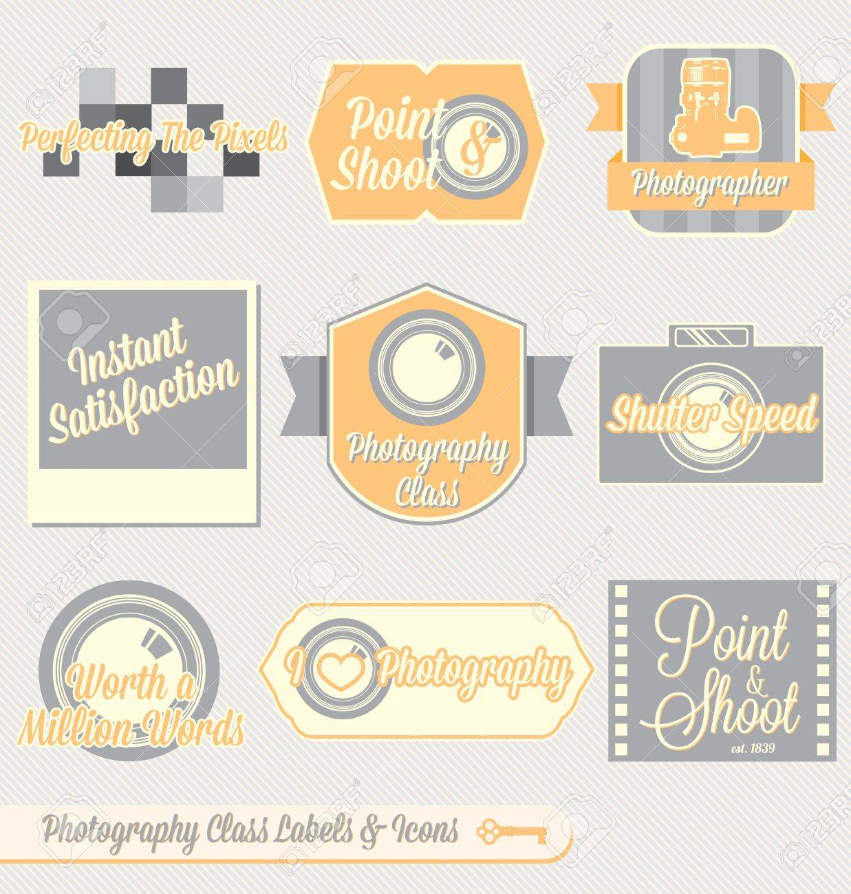 Vector Set: Vintage Photography Class Labels and Icons Stock Vector - 16675805