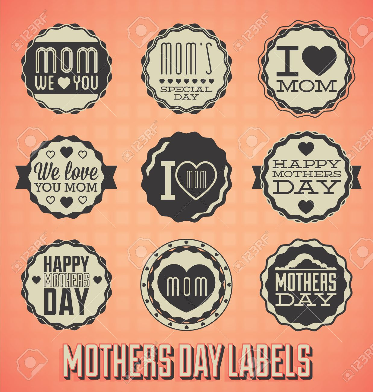 Set: Vintage Happy Mothers Day Labels and Icons Stock Vector - 18083718