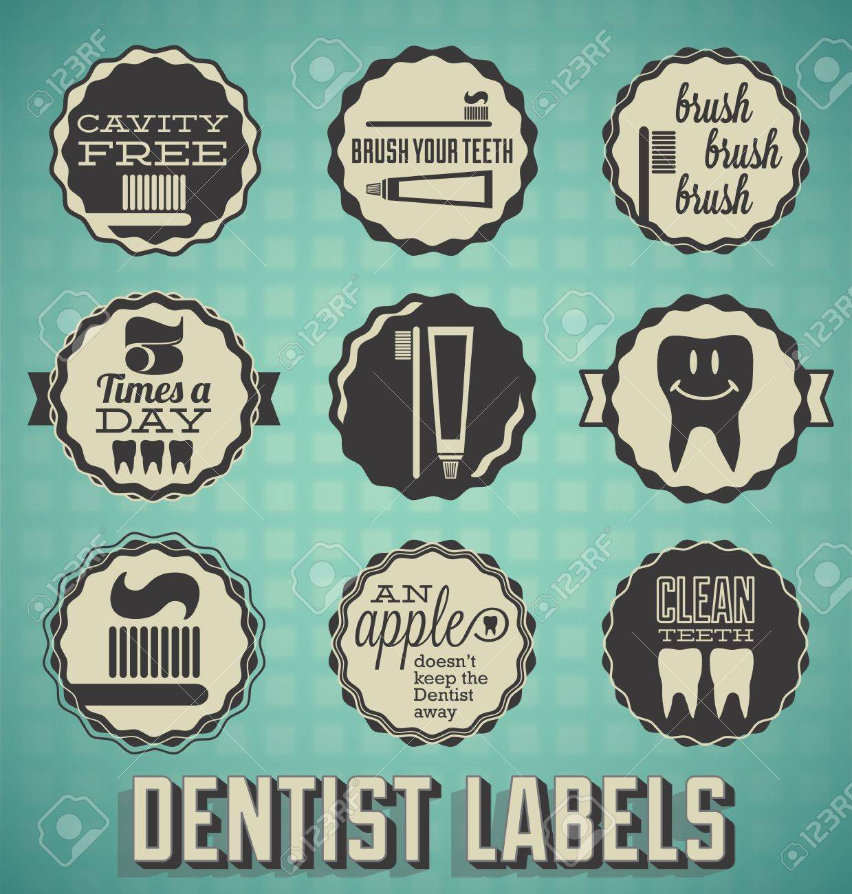 Vector Set: Dentist and Teeth Labels and Icons Stock Vector - 18266179