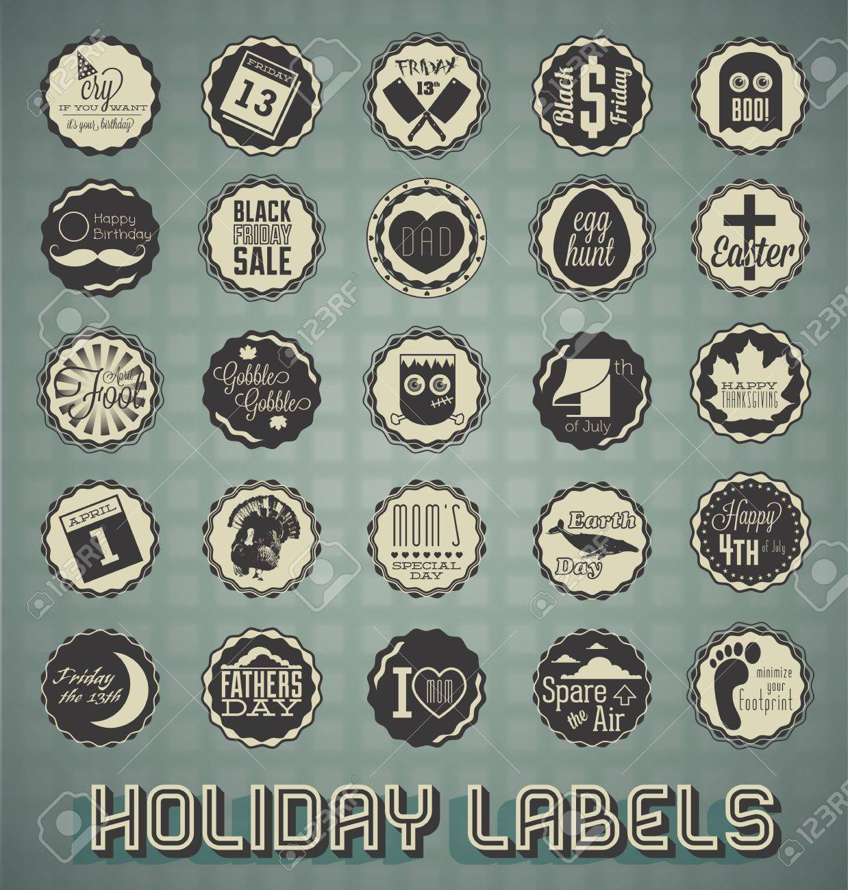 Vintage Mixed Holiday Labels and Icons Stock Vector - 18662014