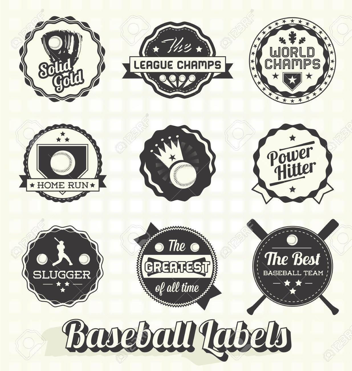 Set: Retro Baseball Champion Labels and Icons Stock Vector - 19215174