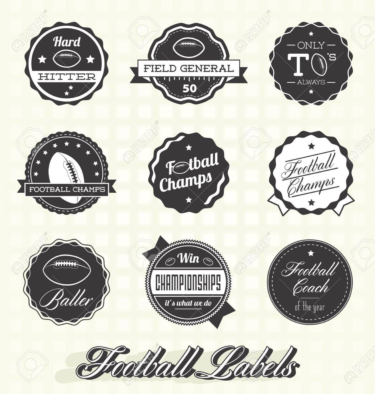 Retro Football Champs Labels Stock Vector - 20238797