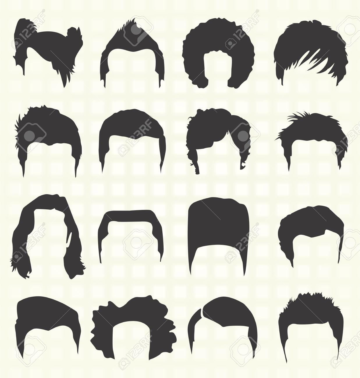 Afro Hair Vector Men s Hairstyle Elements  hair