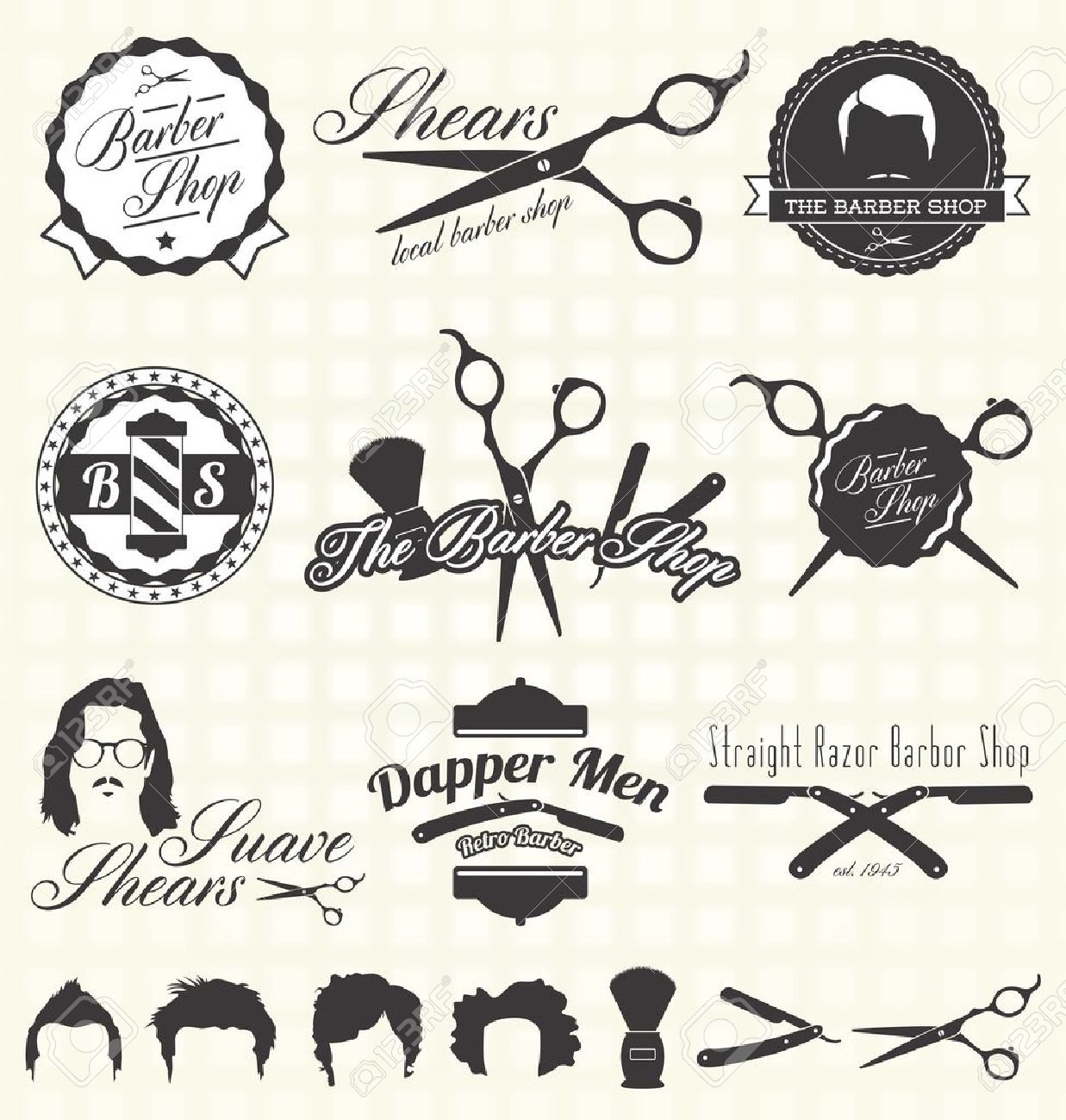 Antique barber shop sign - Vector Vintage Barber Shop Labels