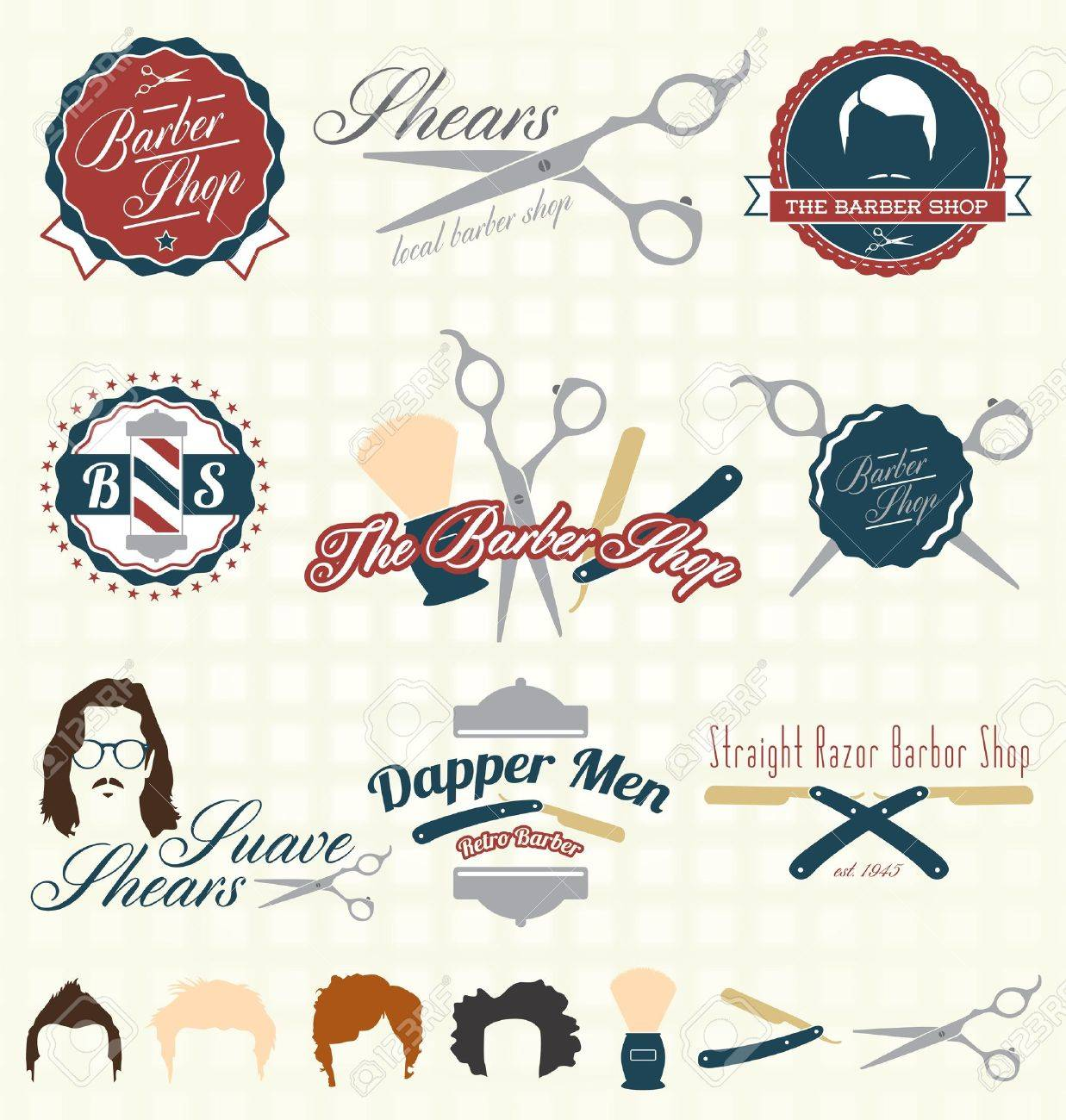 The Barbershop Labels and Icons Stock Vector - 20238893