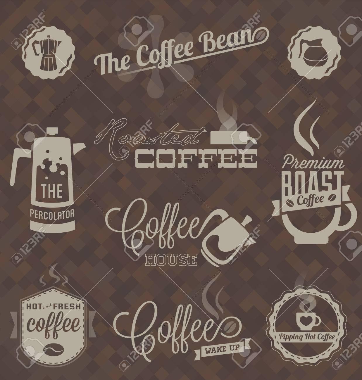Vector Set  Retro Coffee Shop Labels and Symbols Stock Vector - 23241712