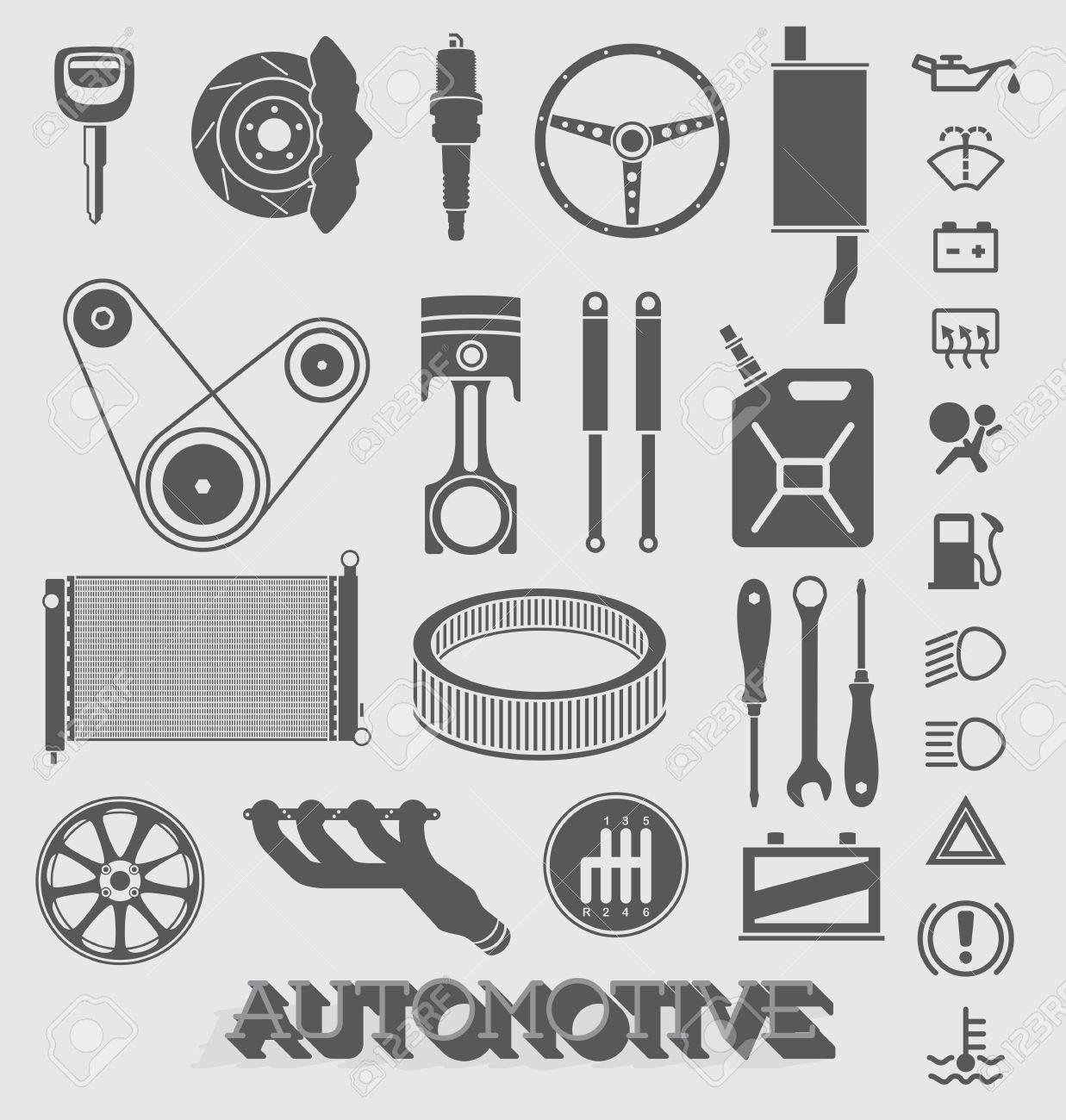 自動車部品のアイコン セット ロイヤリティフリークリップアート
