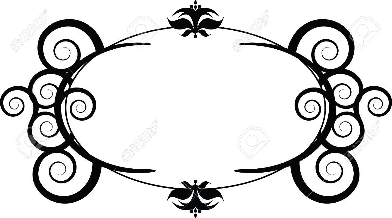 A illustration of a swirl designed book plate created in Illustrator.  Vector format can be enlarged to any size. Stock Vector - 2823660