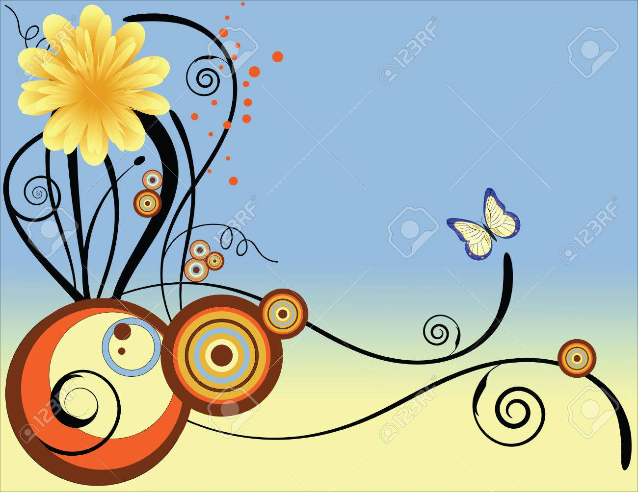 A floral background designed in Illustrator.  Vector format can be enlarged to any size. Stock Vector - 2934974