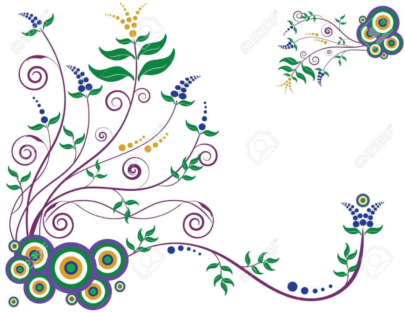 Decorative floral background designed in Illustrator.  Vector format can be enlarged to any size. Stock Vector - 2986175