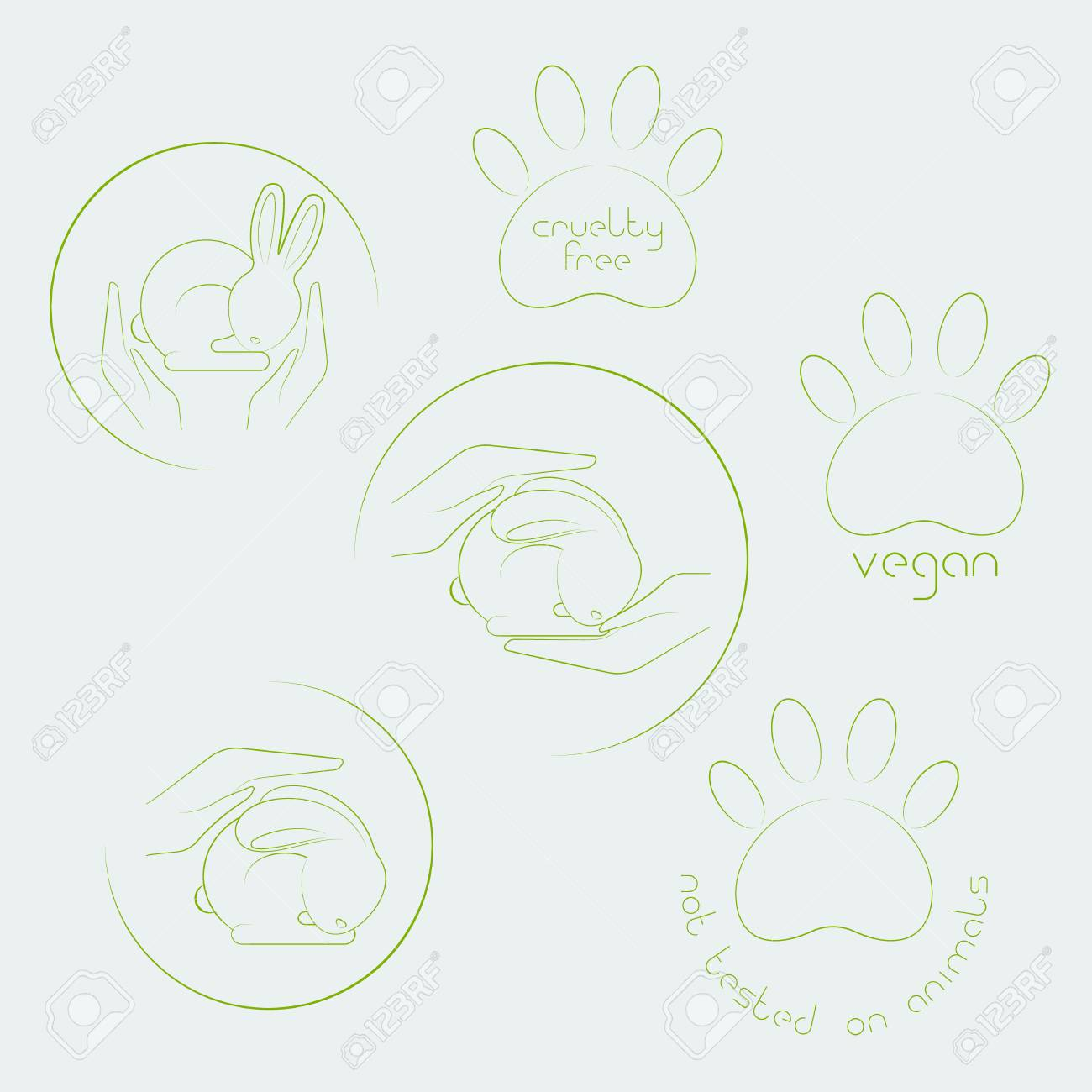 Animal Cruelty Free Logo Not Tested On Animals Symbol Set Royalty