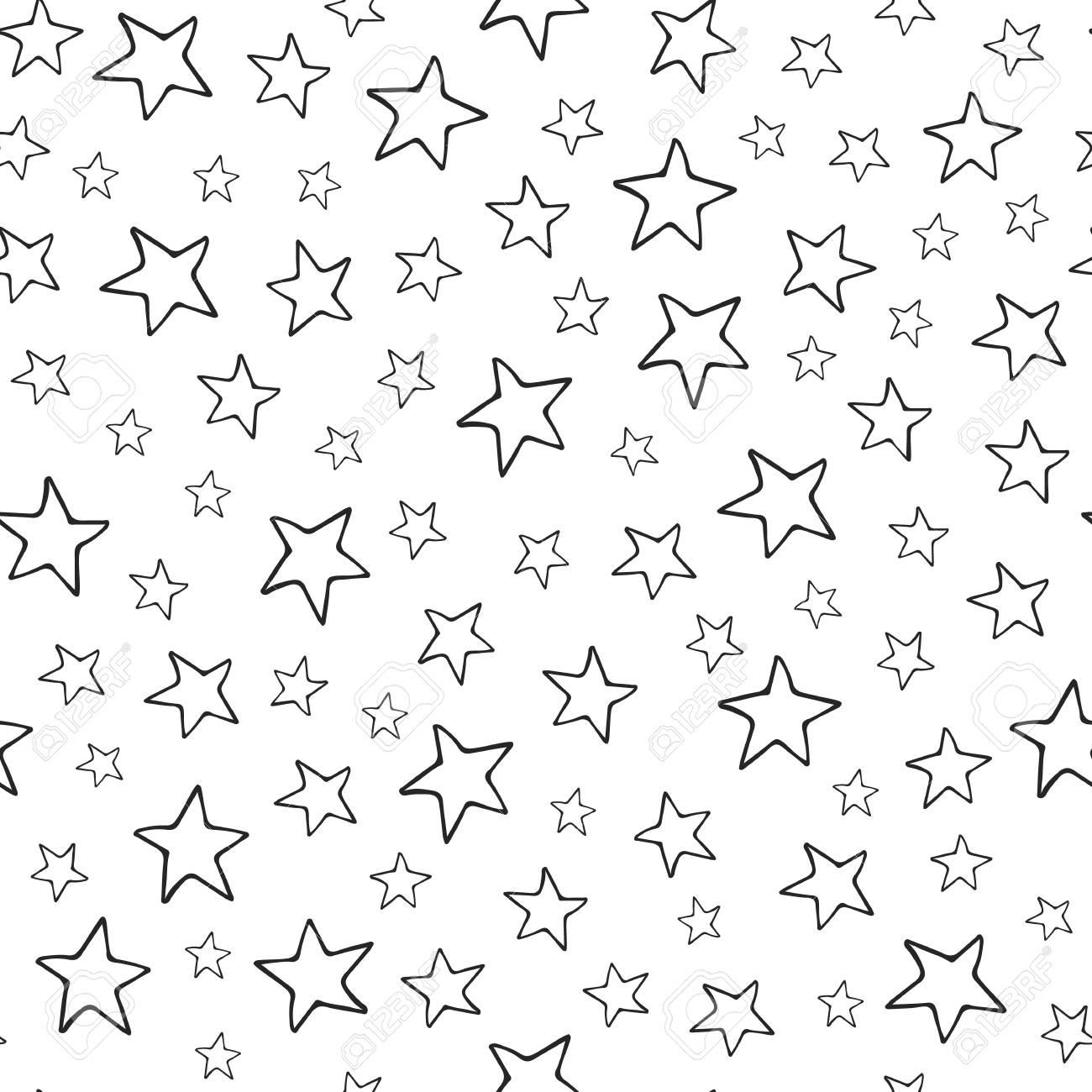 Stars seamless pattern black hand drawn stars on white background