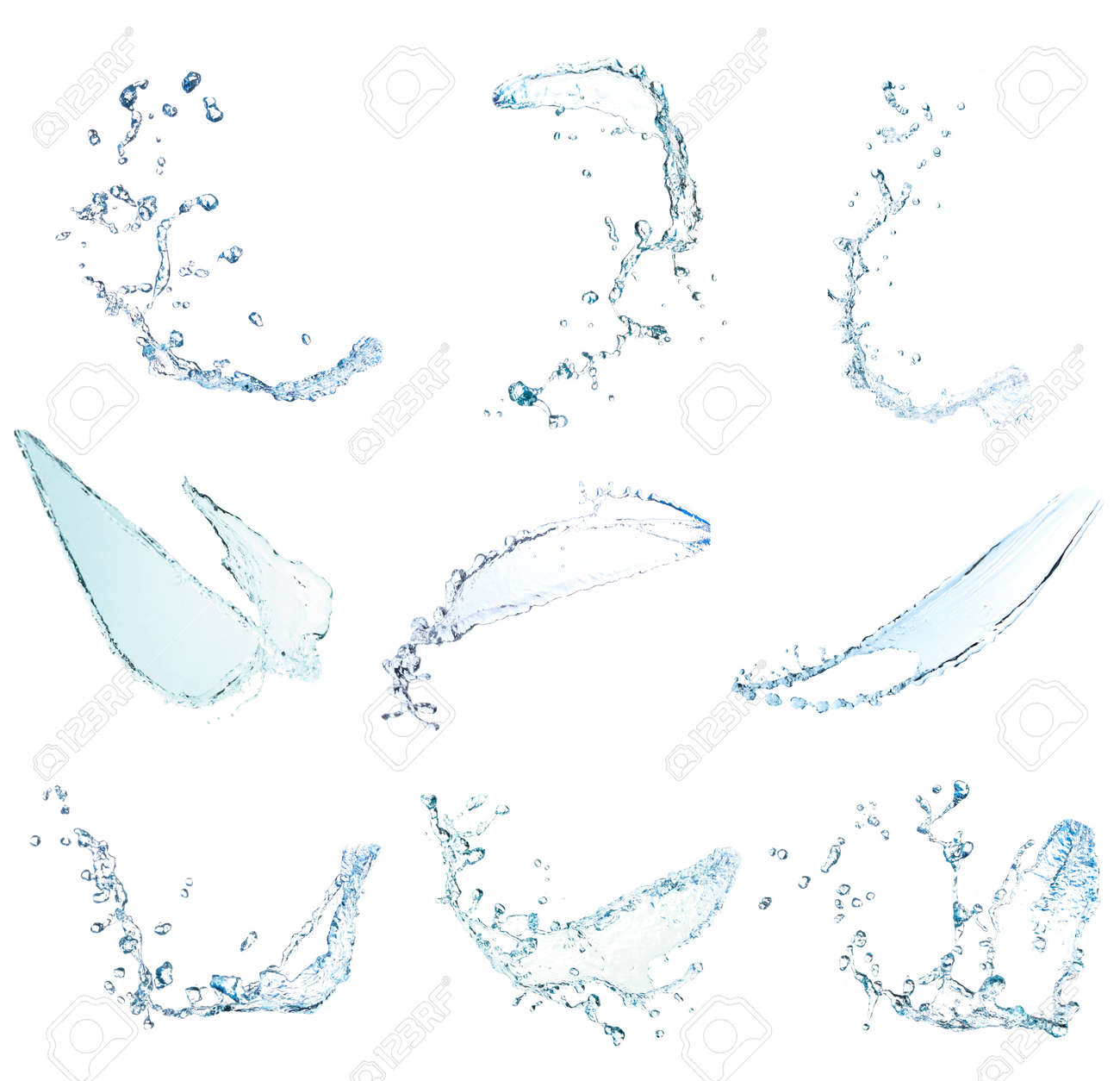 collection Blue water splash Beautiful splashing clean water Isolated on white background - 156455434