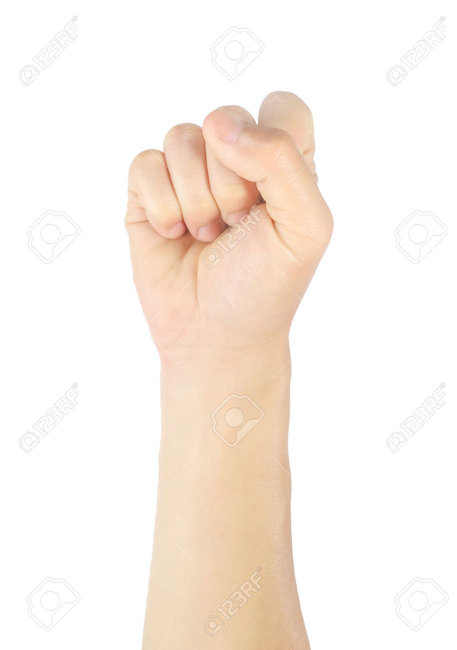 Close up men hand sign raise your hand, raise your fist Gestures and symbols Isolated on white background with clipping path. - 169535331