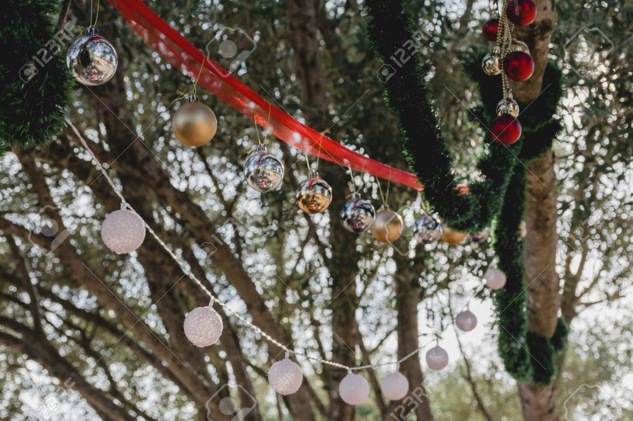 Balls And Other Christmas Decorations Hanging From The Branches Stock Photo Picture And Royalty Free Image Image 156284902
