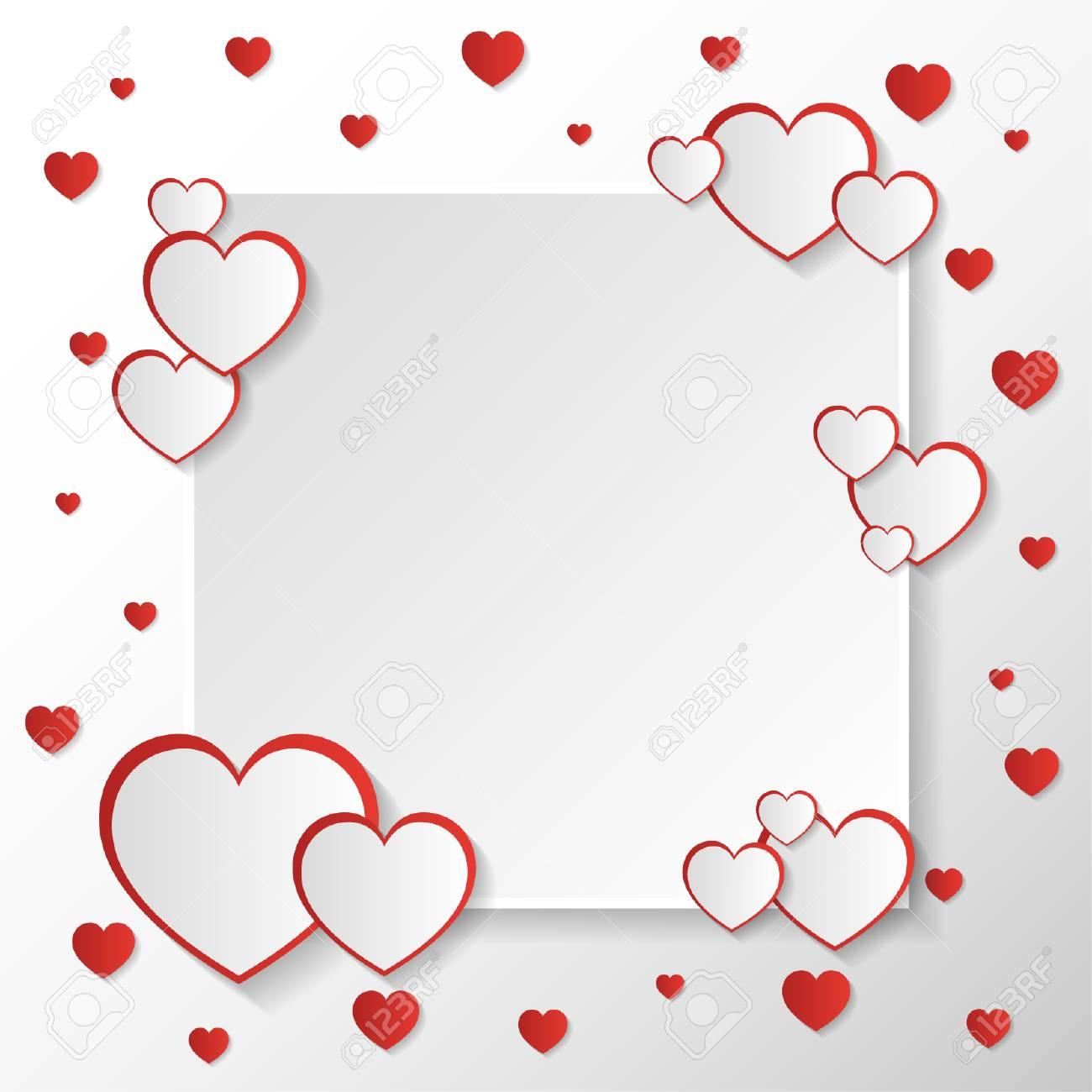 San Valentine Invitation Card Composition With White Square Space