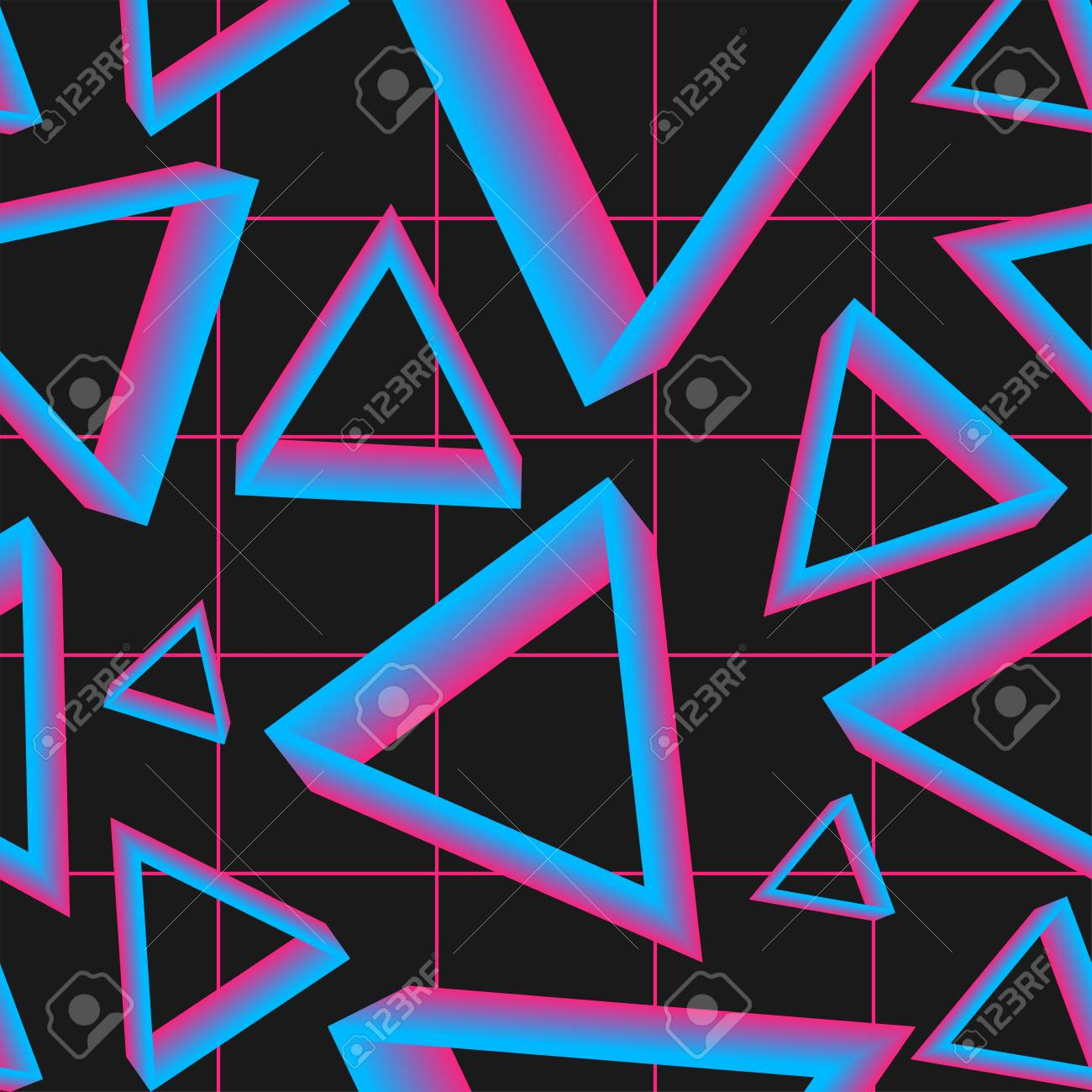 Vaporwave Seamless 80s Style Pattern With Geometric Shapes