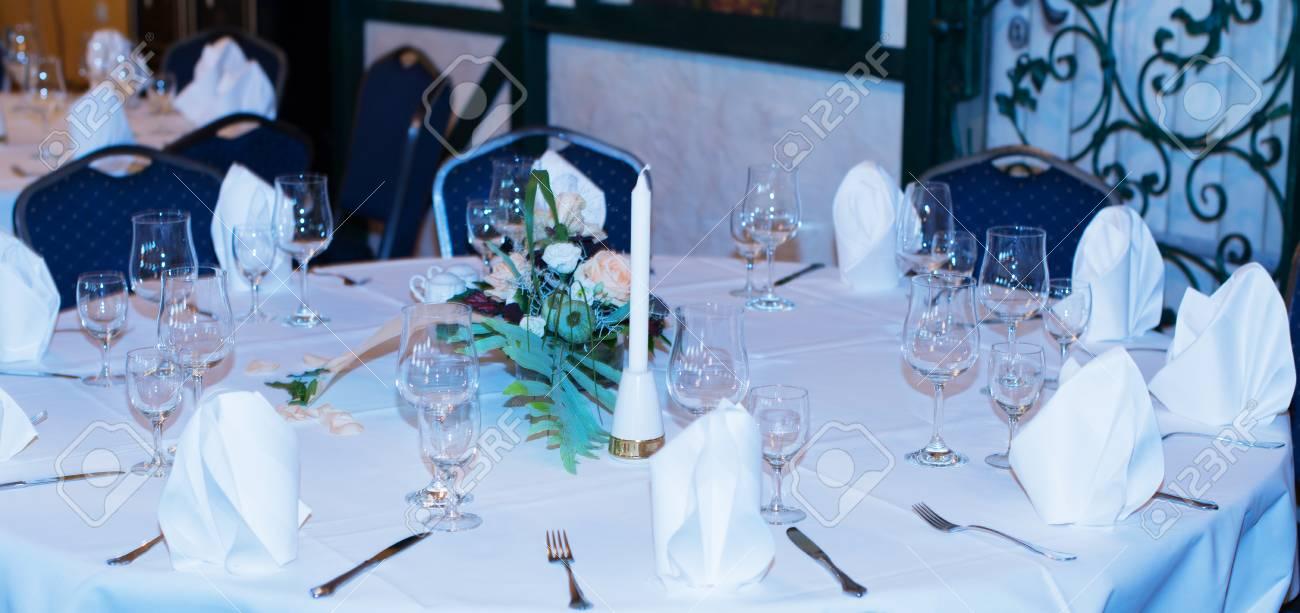 Décoration De Table Dans Un Restaurant Pour Un Mariage Banque D ...