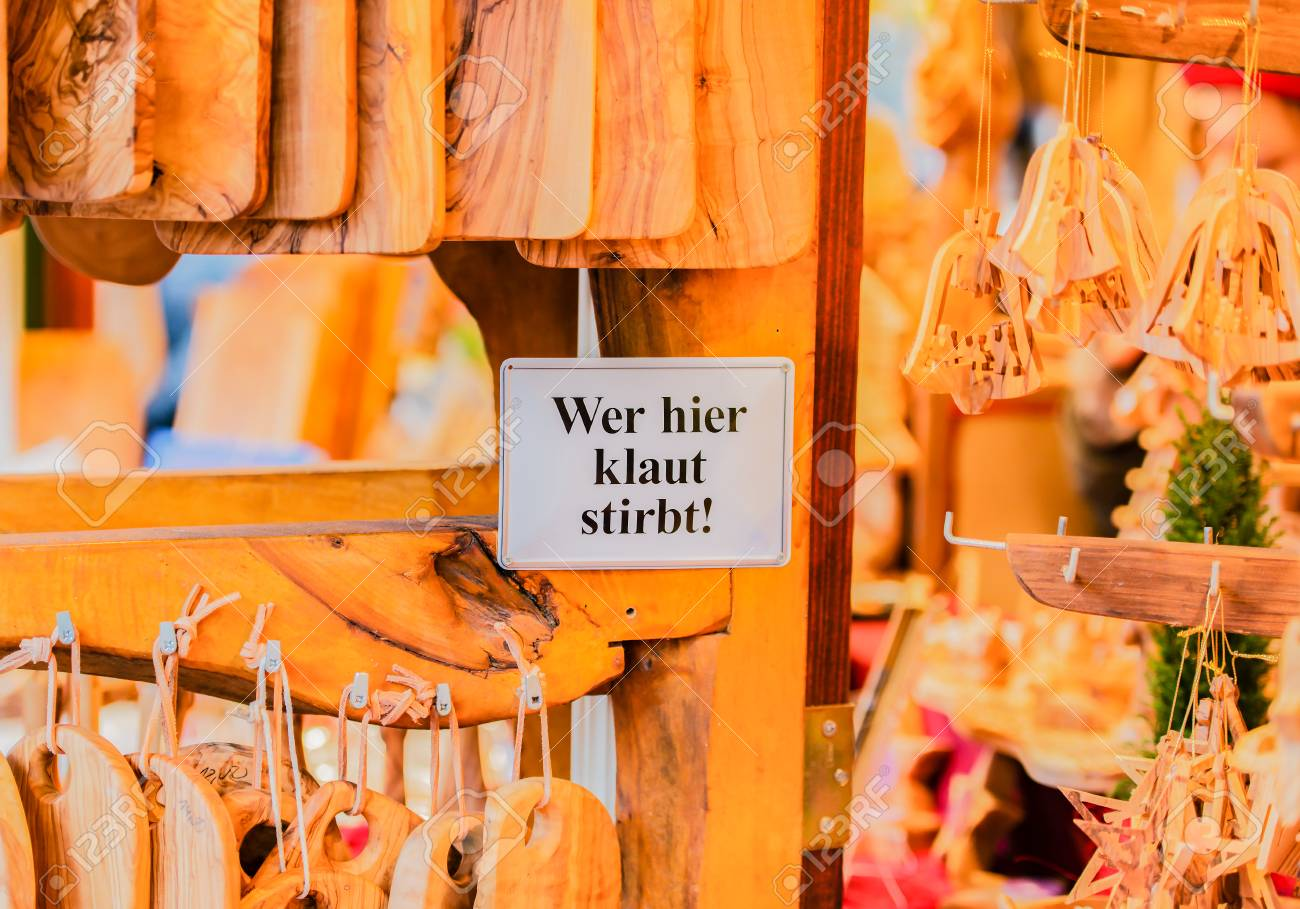Wooden kitchen accessories store at the Christmas market in Hamburg