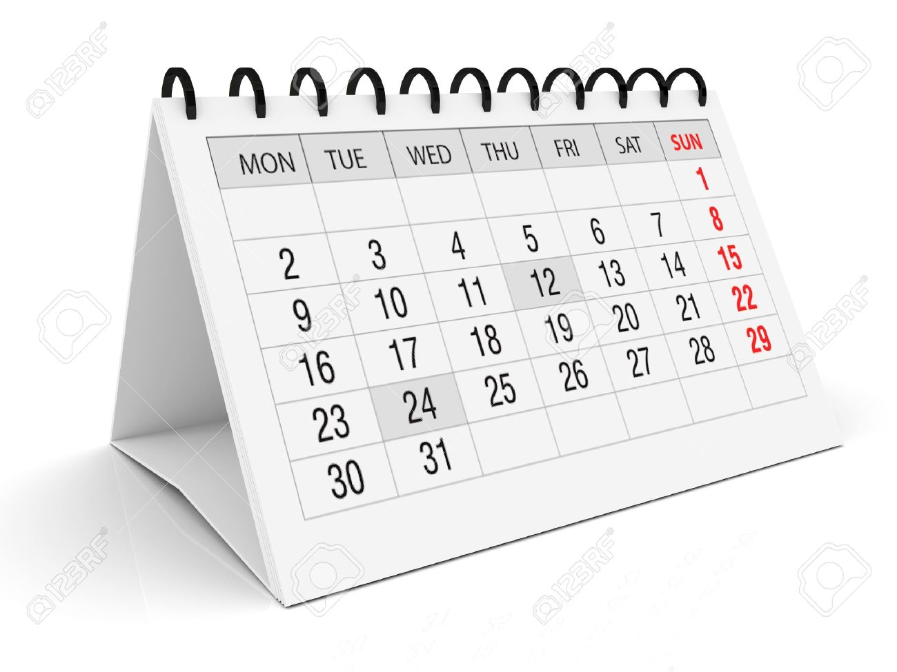 Calendar For Office On White Background Stock Photo Picture And