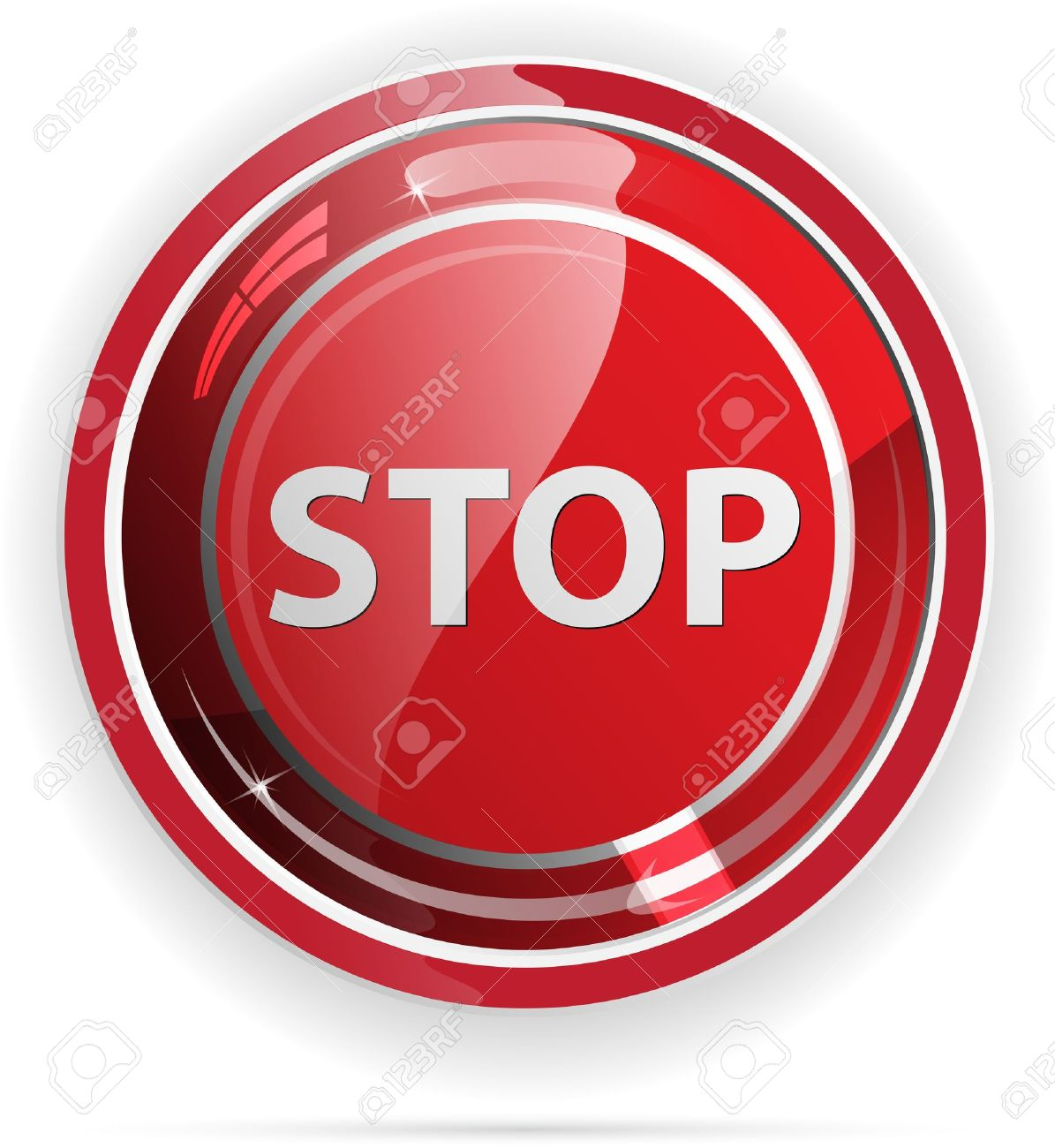 Glossy stop sign button for web applications. Stock Vector - 12046522