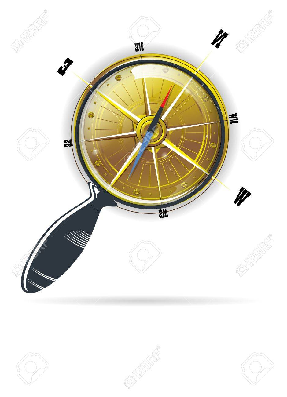 magnifying search glass compass vector - 12166268