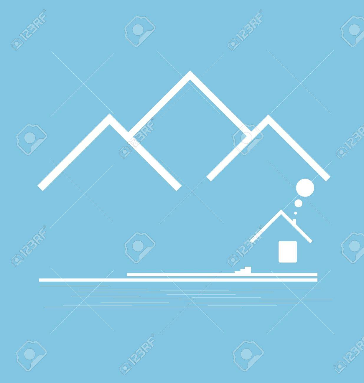 Mountain stylized with building vector format Stock Vector - 12166246