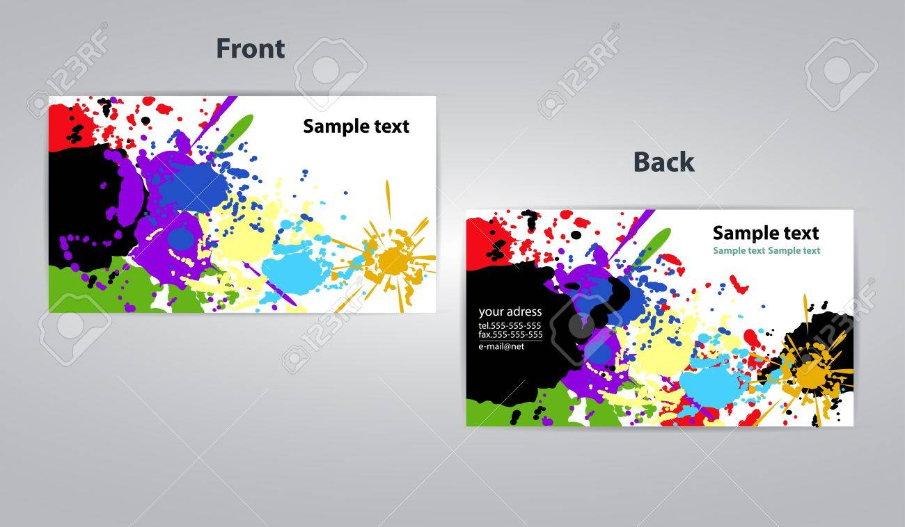 Art Business Card Splash Design Illustration Royalty Free Cliparts