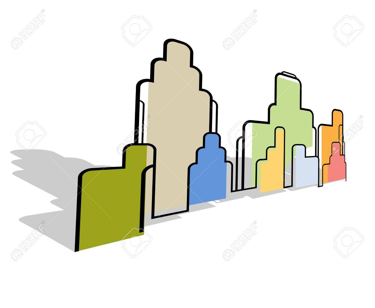 Color abstract city landscape stylized background vector Stock Vector - 14233290