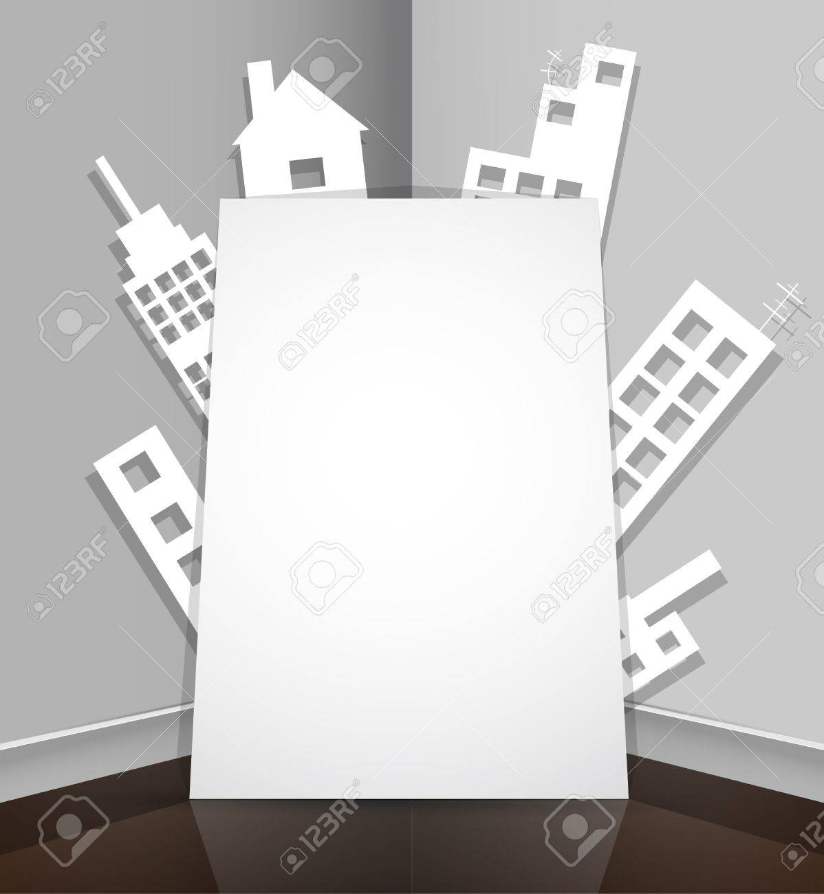 City abstract real estate paper house background Stock Vector - 14531056