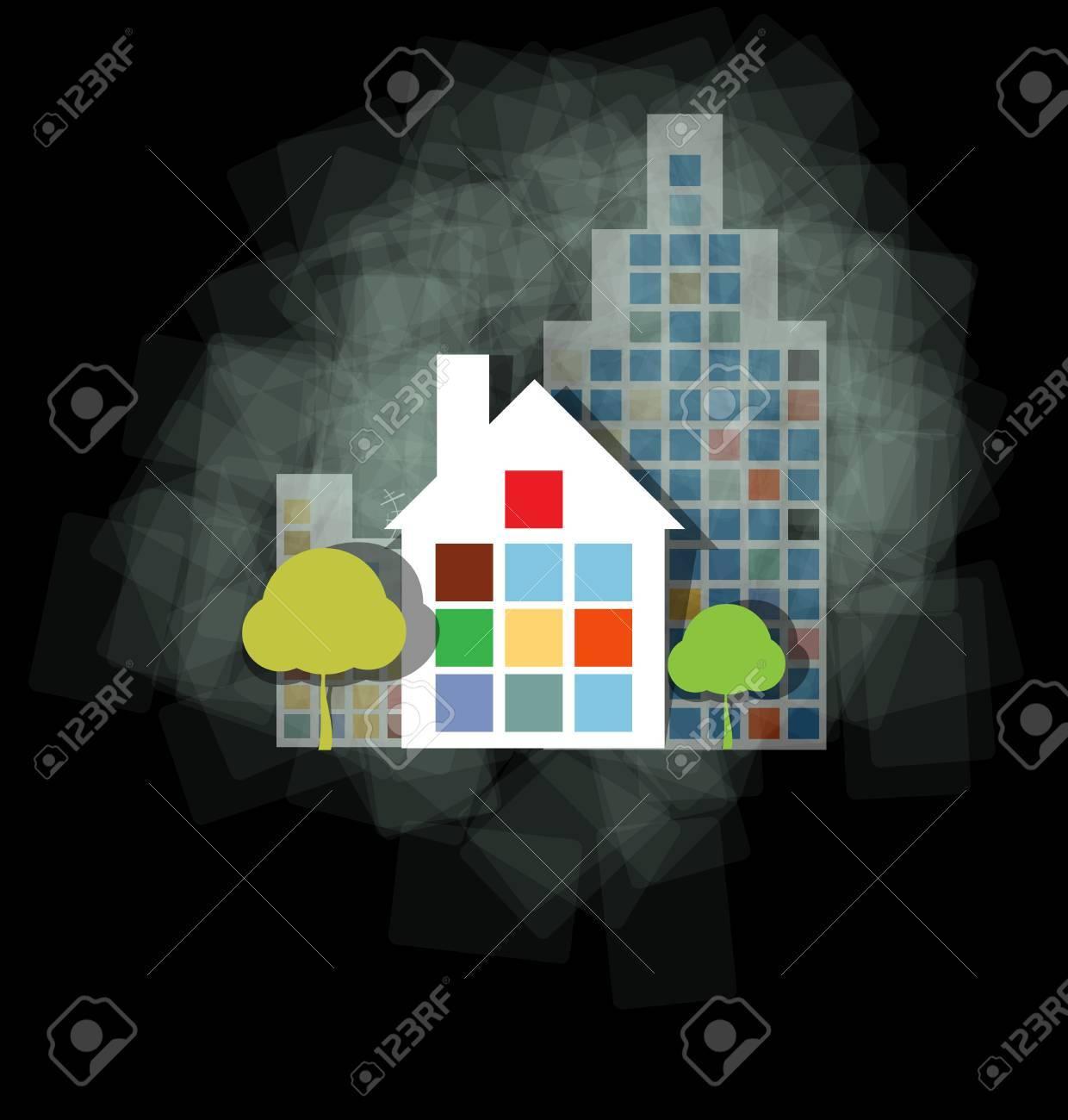 City Landscape abstract dark real estate illustration background Stock Vector - 14597507